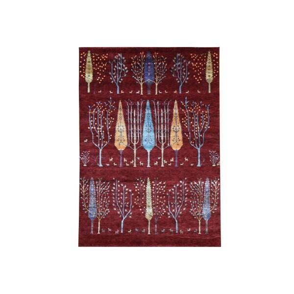 1800getarug Wool/Bamboo Silk Willow and Cypress Tree Design Rug (5'7 x8')