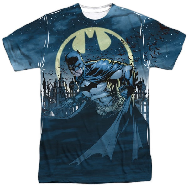 Batman/Heed The Call (Front/Back Print) Short Sleeve Adult 100% Poly Crew in White