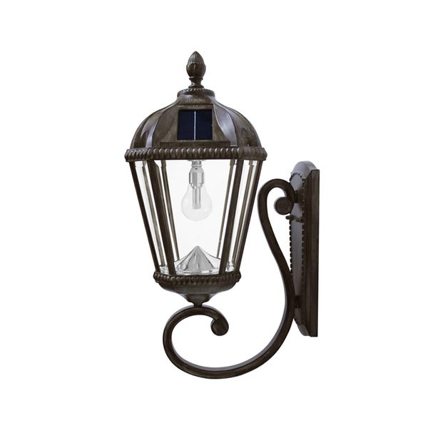 Gama Sonic Weathered Bronze Wall Mount Royal Solar Light with GS Solar Light Bulb