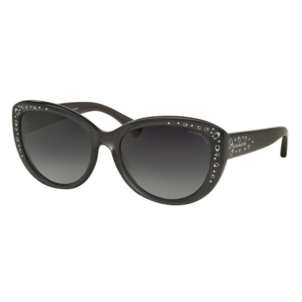 Coach HC8162 L147 5344T3 Dark Grey Crystal Womens Plastic Cat Eye Sunglasses