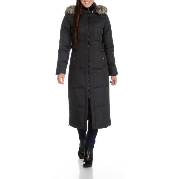 Larry Levine Women's Maxi Down Faux Fur Trimmed Hood Coat