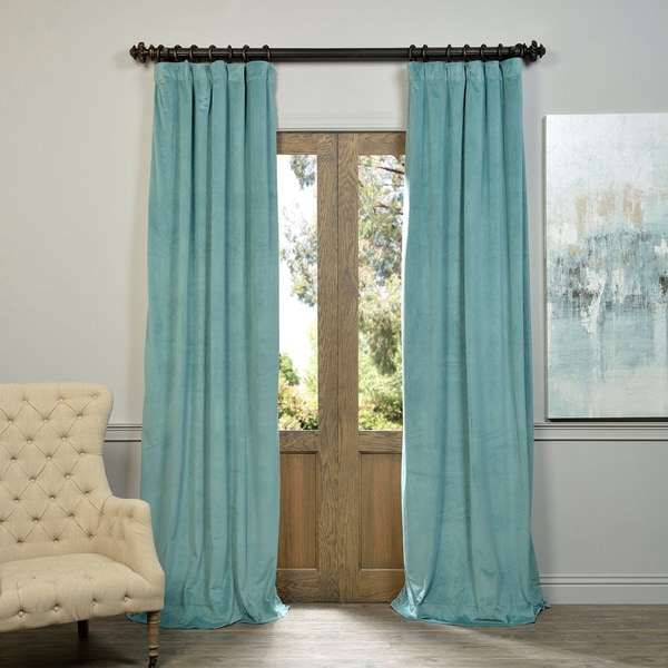Exclusive Fabrics Signature Velvet 84-inch Blackout Curtain Panel 84' L in Aqua(As Is Item)