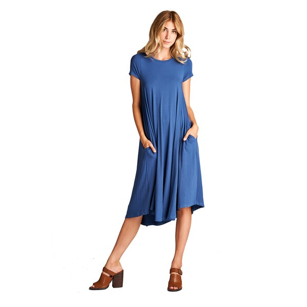 Spicy Mix Aurelia Women's Rayon Jersey Short Sleeve Midi Tunic Dress with Front Pockets