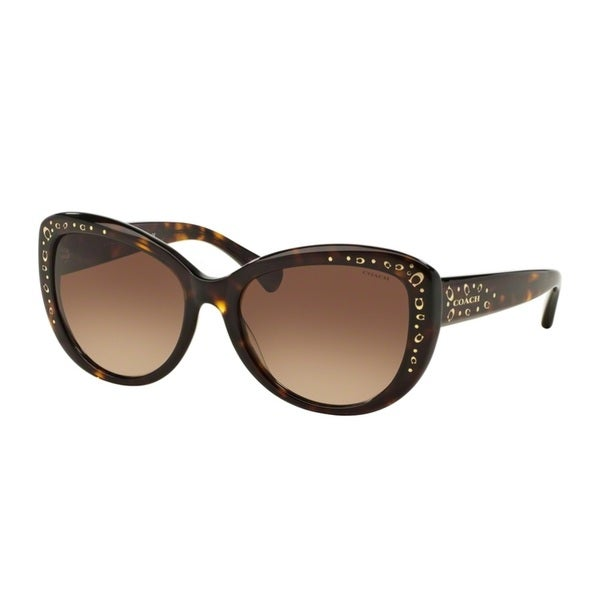 Coach HC8162F L560 512013 Dark Tortoise Womens Plastic Cat Eye Sunglasses