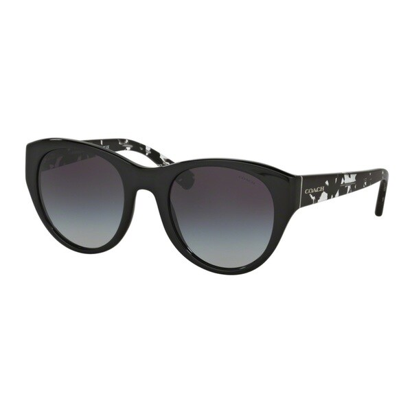 Coach HC8167 L155 534811 Black/Black Crystal Mosaic Womens Plastic Cat Eye Sunglasses