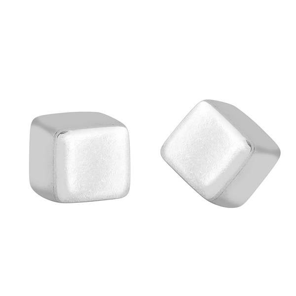 Women's Sterling Silver Stud Cube Earrings