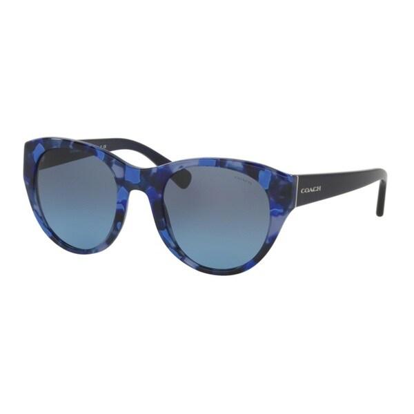 Coach HC8167F 536117 Blue Black Mosaic/Navy Womens Plastic Cat Eye Sunglasses