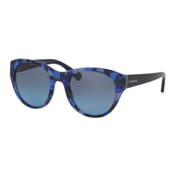 Coach HC8167 L155 536117 Blue Black Mosaic/Navy Womens Plastic Cat Eye Sunglasses