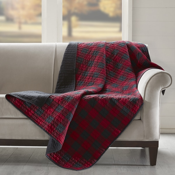 Woolrich Check Red Cotton Thread Count Printed Quilted Throw