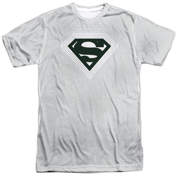 Superman/Optical Stripes Short Sleeve Adult Poly Crew in White