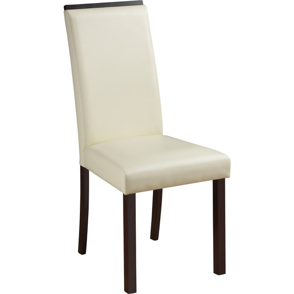 Global Furniture Cream Faux Leather and Wood Dining Chair