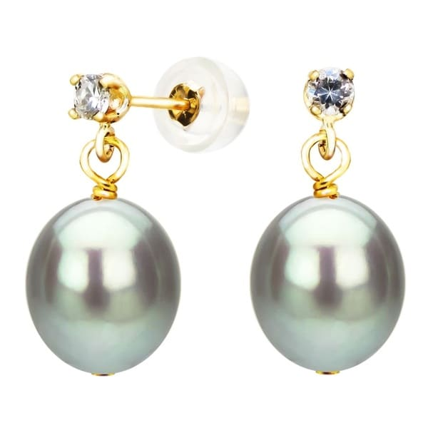 DaVonna 14K Yellow Gold 8-8.5mm Grey Cultured Freshwater Pearl 0.10tcw CZ Stud Earrings