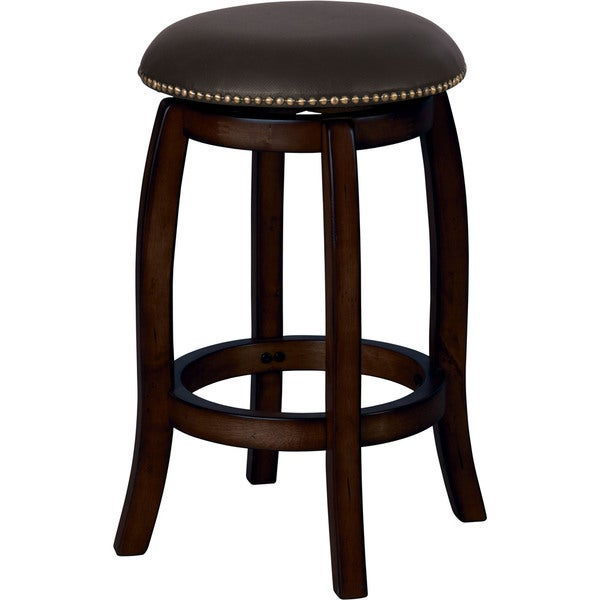 Chelsea Black Leather/Wood Swivel Bar Stool