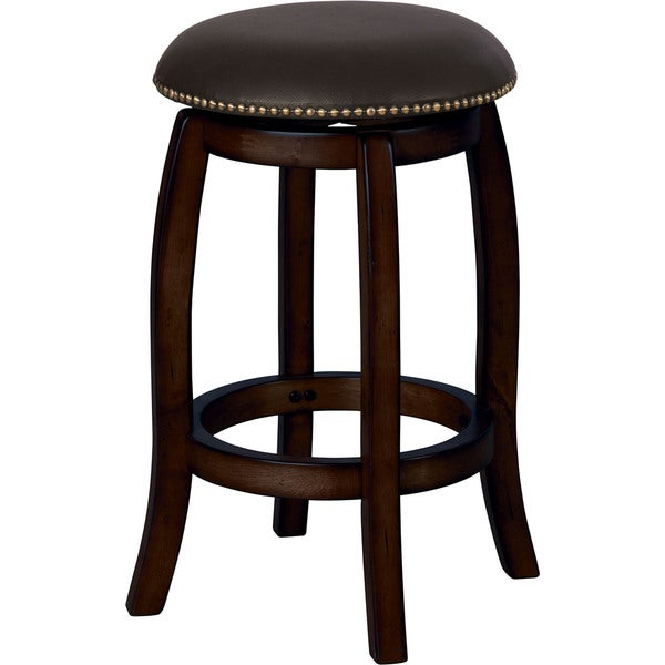 Chelsea Black Leather Counter-height Swivel Stool