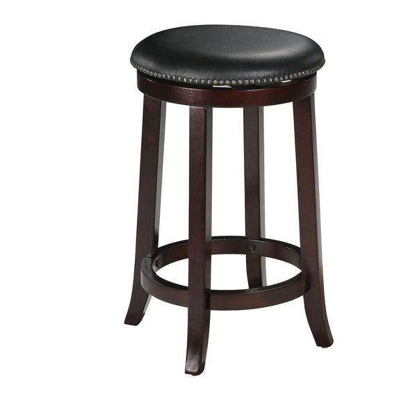 Chelsea Faux Leather and Wood Espresso Finish Swivel Bar Stool (Set of 2)