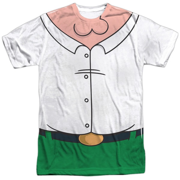 Family Guy/Peter Costume (Front/Back Print) Short Sleeve Adult Poly Crew in White