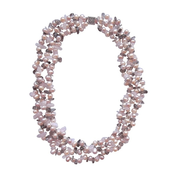 Pink-n-peach Pearl 3-strand Necklace