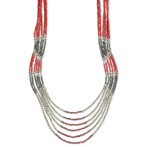 Coral Dyed Glass Bead Handmade Multistrand Necklace (India) 20575980