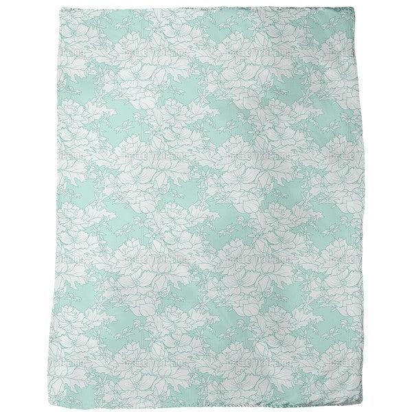 Vintage Flowers Mint Fleece Blanket