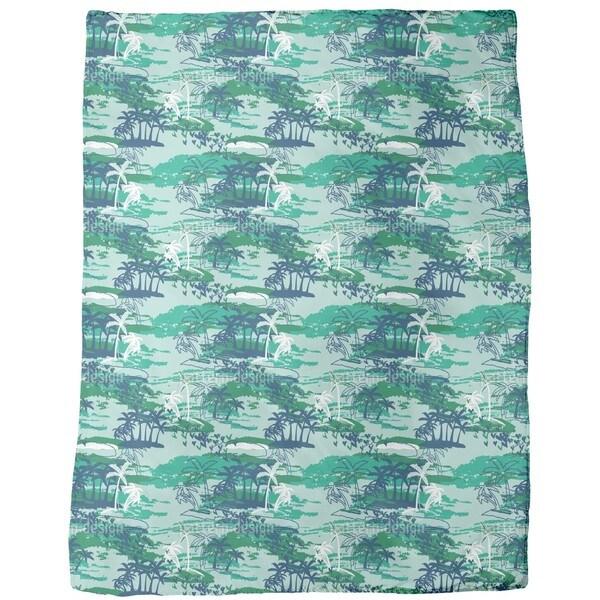 Paradise Island Green Fleece Blanket