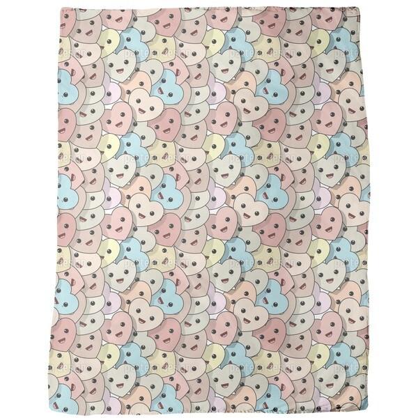 Kawaii Hearts Fleece Blanket