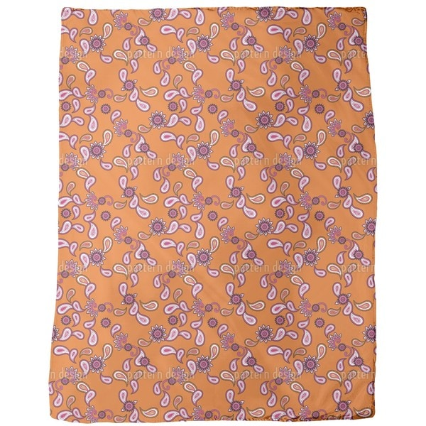 Orange Paisley Fleece Blanket