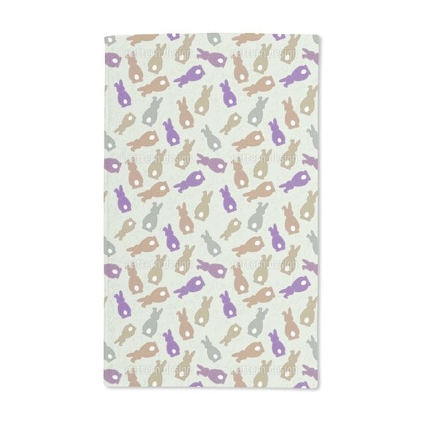 Bouncing Bunnies Purple Hand Towel (Set of 2)