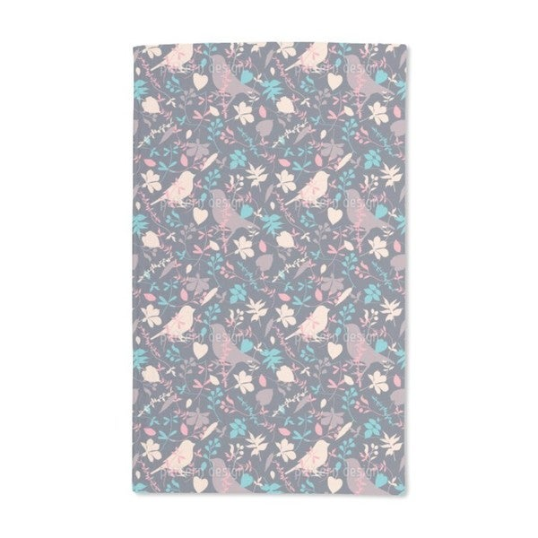 Birds Behind Floral Thicket Hand Towel (Set of 2)