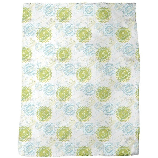 Om Green Fleece Blanket