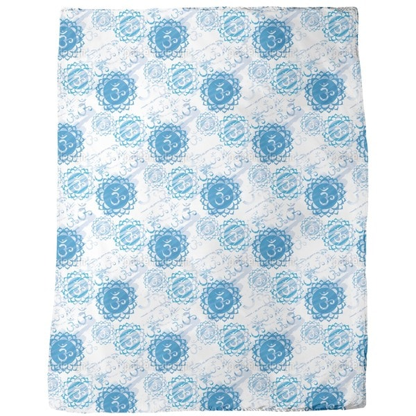 Om Blue and White Fleece Blanket