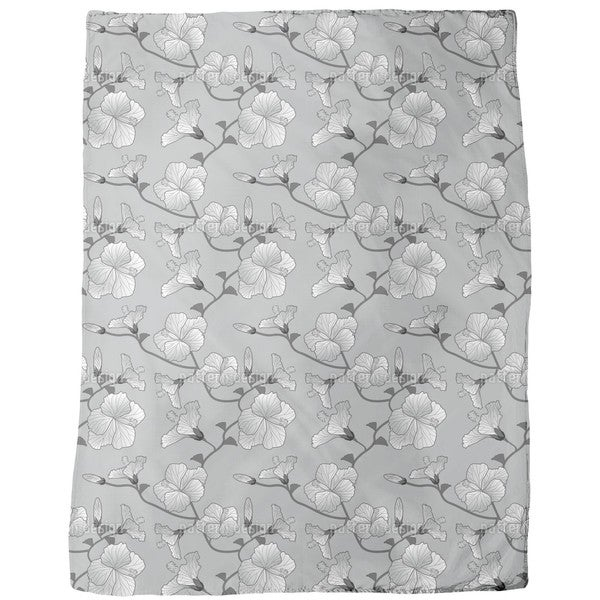 Hibiscus Monochrome Fleece Blanket