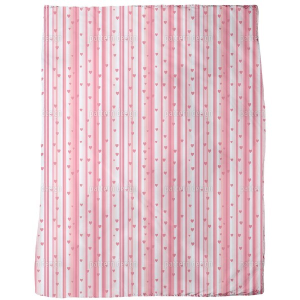 Romantic Hearts on Strips Fleece Blanket