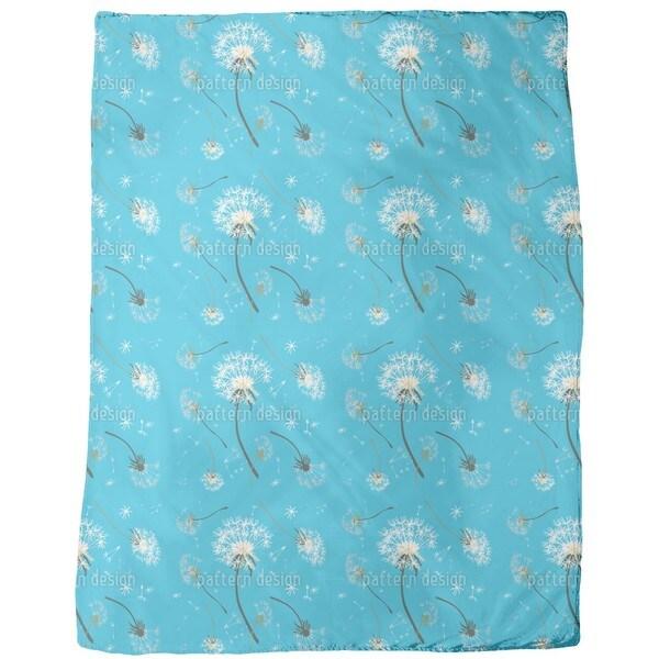 Dandelions Blue Fleece Blanket