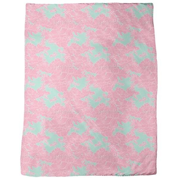Vintage Flowers Pink Fleece Blanket