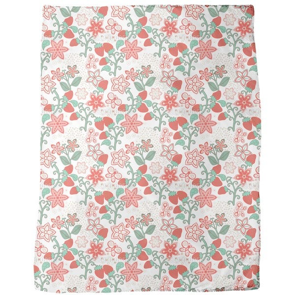Sweet Strawberry Paradise Fleece Blanket