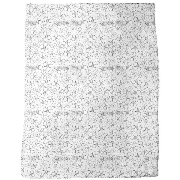 Flower Sketches Fleece Blanket