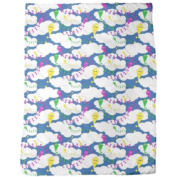 Kite Flying Fleece Blanket