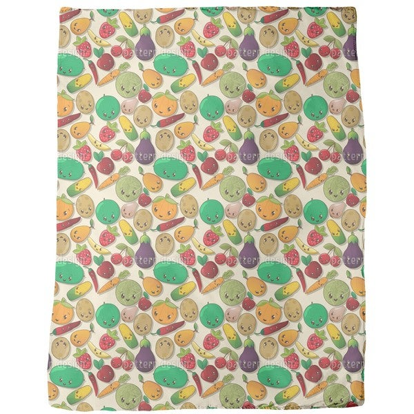 Kawaii Veggies Fleece Blanket