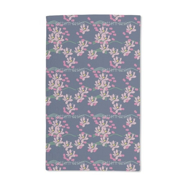 Lotus Love Blue Hand Towel (Set of 2)