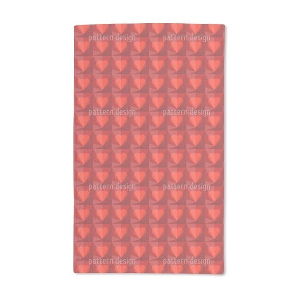 Ruby Hearts Hand Towel (Set of 2)