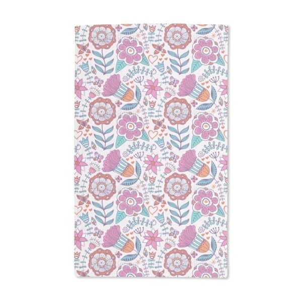 Flower and Butterfly Greetings Hand Towel (Set of 2)