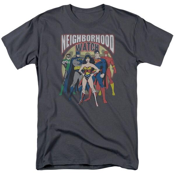JLA/Neighborhood Watch Short Sleeve Adult T-Shirt 18/1 in Charcoal