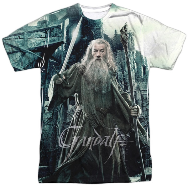 Hobbit/Wizard Short Sleeve Adult Poly Crew in White