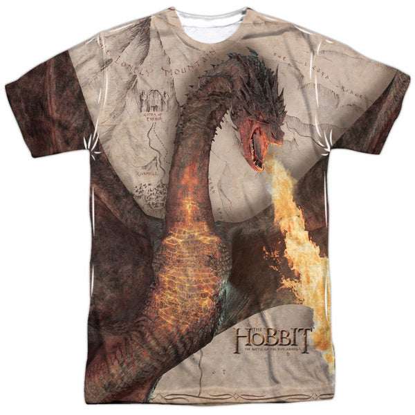 Hobbit/Smaug Attack Short Sleeve Adult Poly Crew in White