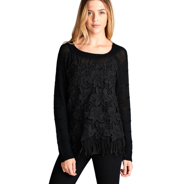 Orange Creek Women's Black Burnout Lace Tasseled Hem Knit Top