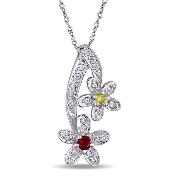 Pink and Yellow Sapphire with 1/8ct TDW Diamond Double Flower Dangle Necklace in 14k White Gold by Miadora