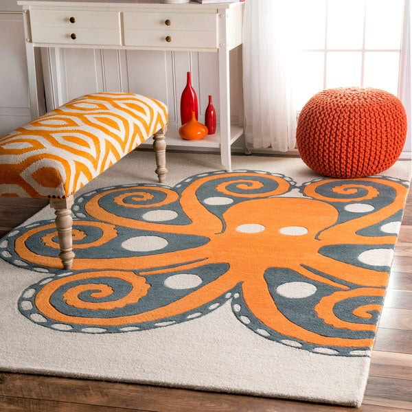 nuLOOM Handmade by Thomas Paul Octopus Orange Rug (4' x 6')