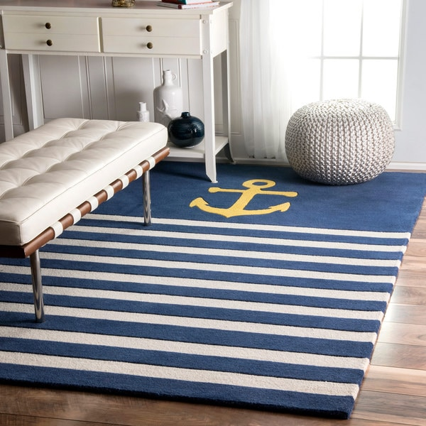 nuLOOM Handmade by Thomas Paul Anchor Nautical Stripe Navy Rug (5' x 8')
