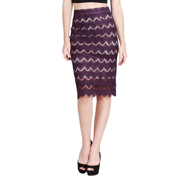 Nikibiki Women's Eyelash Purple Lace Pencil Skirt