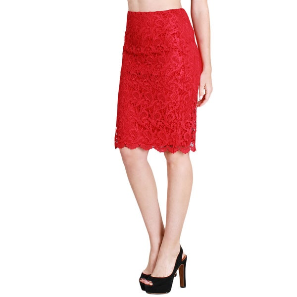NikiBiki Women's Magenta Crochet Lace Pencil Skirt